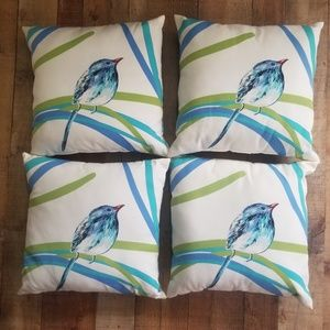Set of 4 bird throw pillows